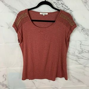 Rose + Olive rust colored shirt brass beaded slvs